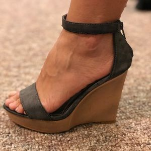 Shoes - Grey wedges. Little marks from wearing